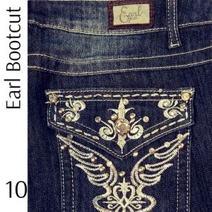 Earl Stretch Boot Cut Silver Bling Pocket Jeans
